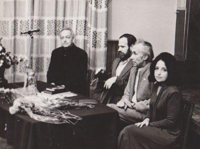 Авторский вечер в ЦДЛ. Слева направо: Л.Разгон, К.Кедров, В.Никулин, Е.Аксельрод. Москва. 1986 год